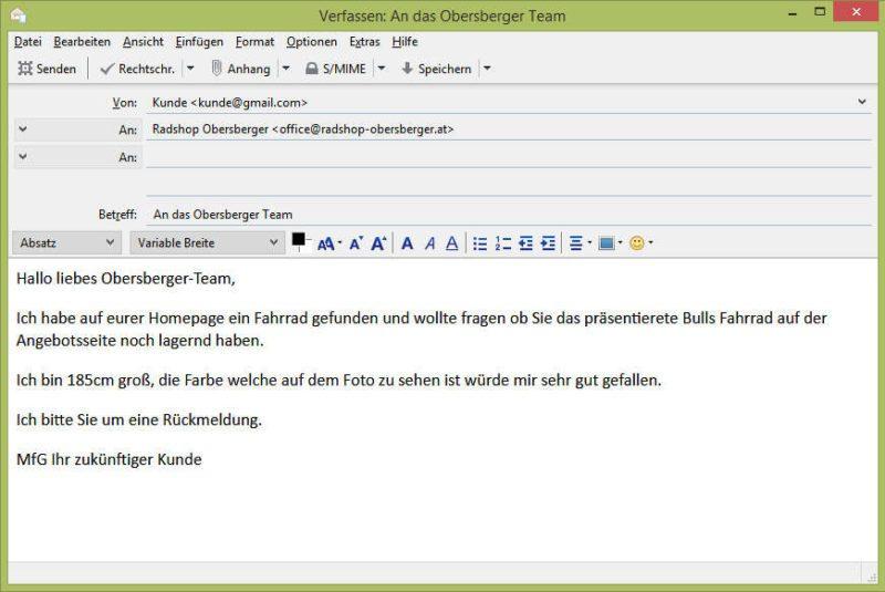 Beispiel E-Mail an Radshop