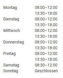 Oeffnungszeiten im Radshop Obersberger